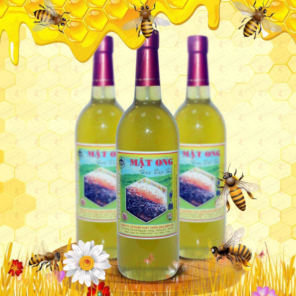 Mật ong hoa rừng bạc hà 1000g (Chai thủy tinh) MO005