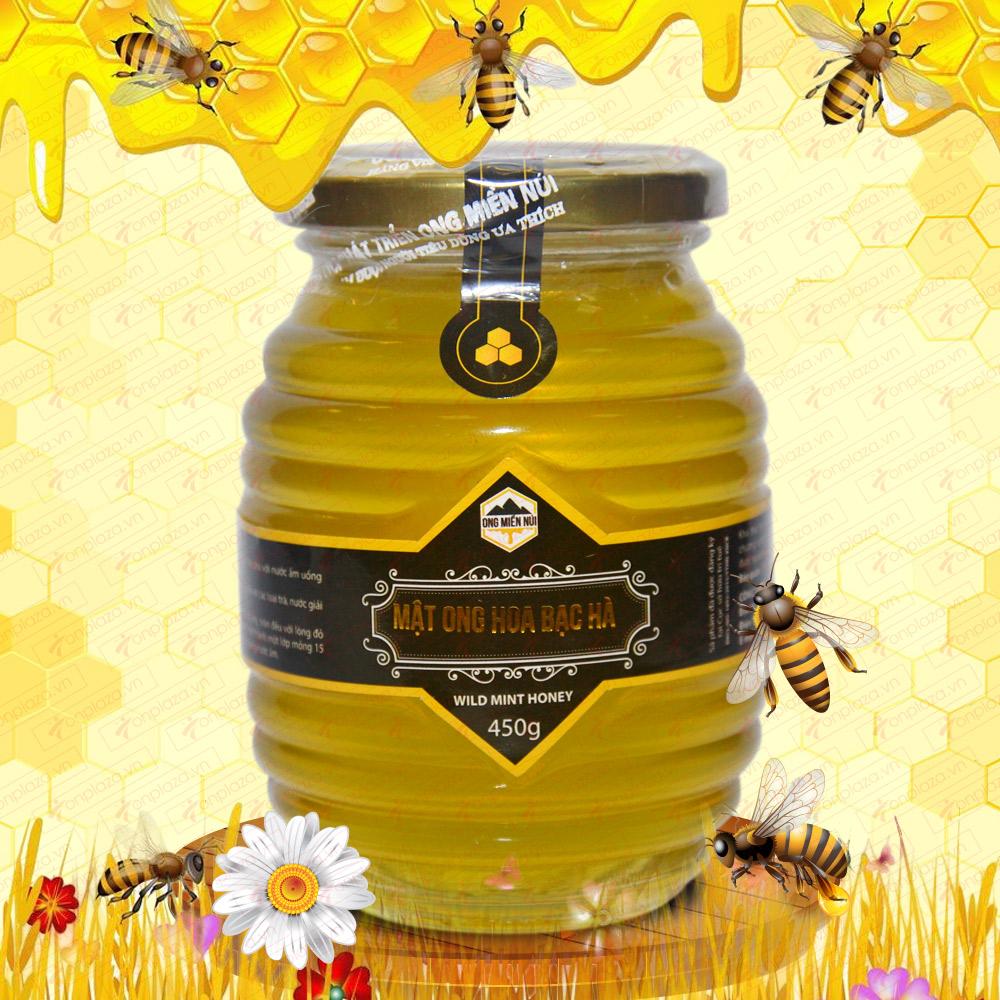 Mật ong hoa rừng bạc hà 450g (Chai thủy tinh) MO006